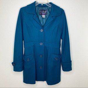 Jack by BB Dakota Double Pocket Turquoise Peacoat